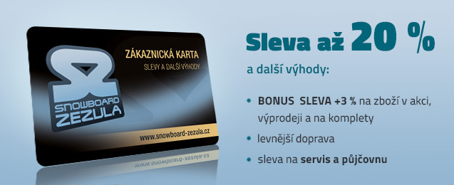 Zákaznická karta Snowboard Zezula s řadou výhod